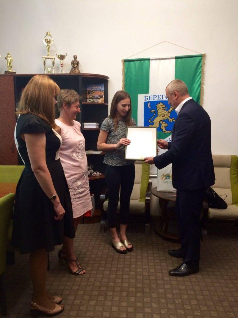 Берегівчанка отримала почесну грамоту в Угорщині