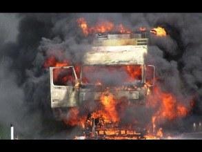 На трасі «Київ-Чоп» загорілась вантажівка з цементом