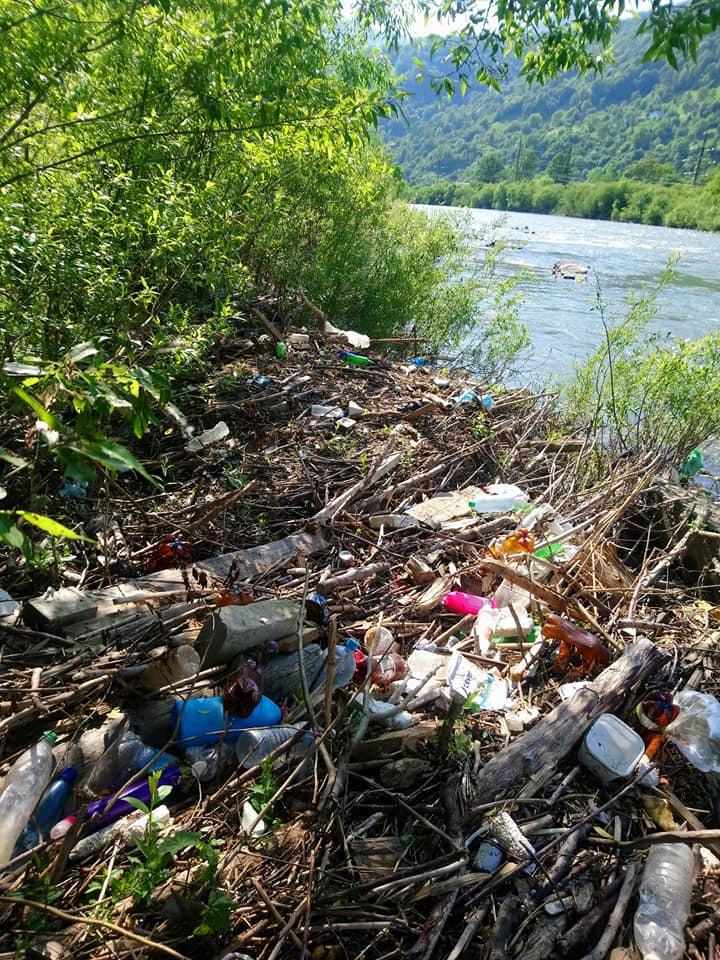 На Рахівщині берег Тиси вкритий купами сміття (ФОТО)