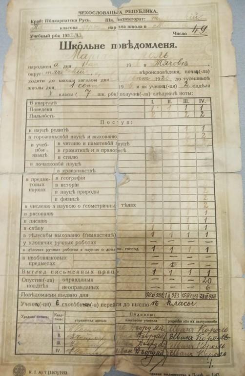 Як виглядав шкільний табель закарпатця 1920 року (ФОТО)